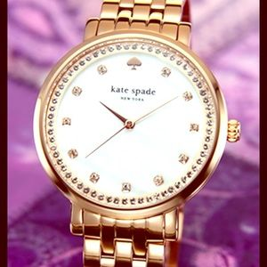 kate spade Accessories - Kate Spade gold w/crystals mother of pearl $295😍